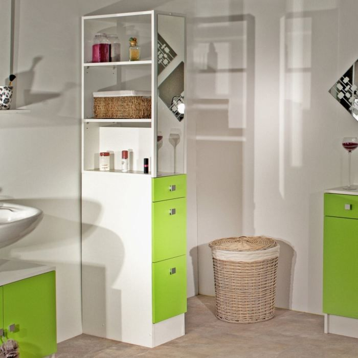 gap colonne 3 tiroirs 2 tag res 54cm blanc vert achat vente colonne salle de bain gap. Black Bedroom Furniture Sets. Home Design Ideas