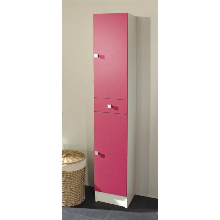 galet colonne simple 2 portes blanche fuchsia achat vente colonne armoire sdb galet. Black Bedroom Furniture Sets. Home Design Ideas