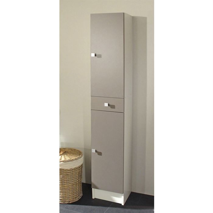 Galet Colonne Simple 2 Portes Blanche Taupe Achat Vente Colonne Salle De Bain Galet Colonne