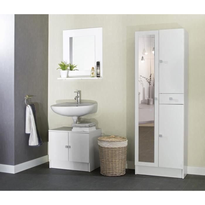 galet armoire de salle de bain 60 cm blanc achat. Black Bedroom Furniture Sets. Home Design Ideas