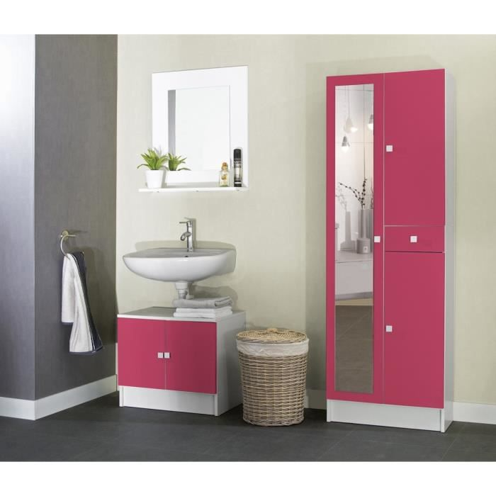 galet armoire de salle de bain avec miroir 60 cm blanc et. Black Bedroom Furniture Sets. Home Design Ideas