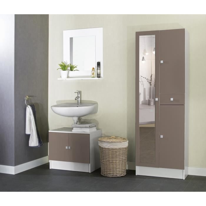 galet armoire de salle de bain 60 cm blanc et taupe. Black Bedroom Furniture Sets. Home Design Ideas