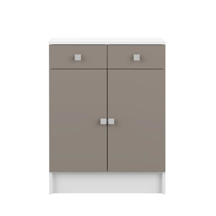 galet meuble sdb 60x81cm blanc taupe achat vente elements bas galet meuble bas 2portes. Black Bedroom Furniture Sets. Home Design Ideas