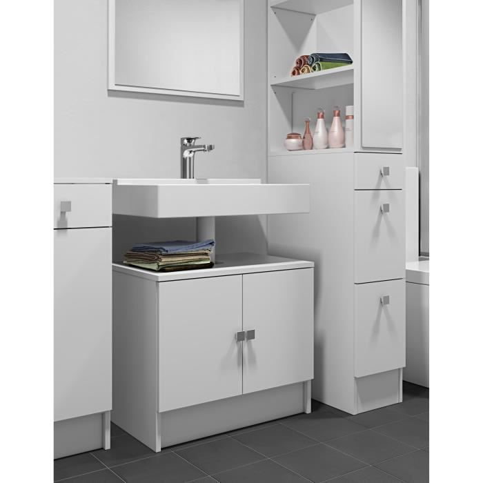 galet meuble sous lavabo l 60cm blanc achat vente meuble vasque plan galet meuble lavabo. Black Bedroom Furniture Sets. Home Design Ideas