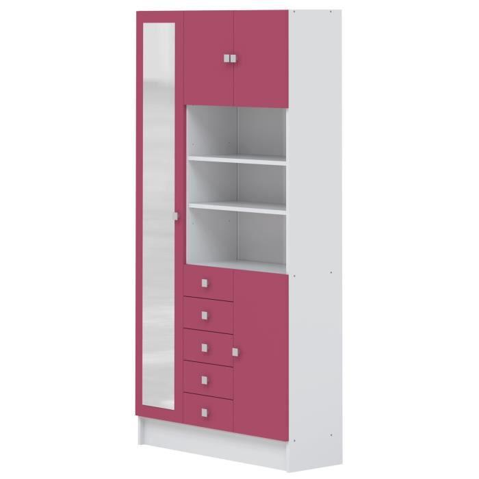 GALET Armoire de salle de bain L 90 cm - Blanc et rose ...