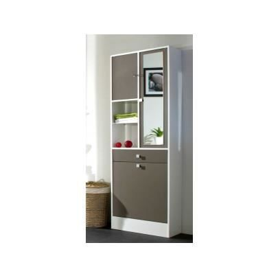 galet armoire de toilette 60 cm blanc et taupe achat vente colonne armoire sdb galet. Black Bedroom Furniture Sets. Home Design Ideas
