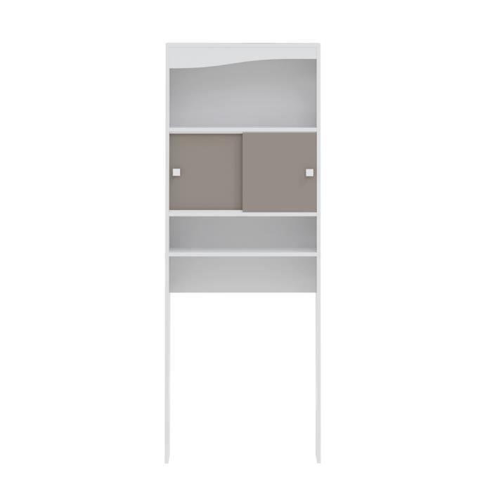 COLONNE - ARMOIRE WC GALET Meuble WC ou machine à laver L 64 cm - Blanc