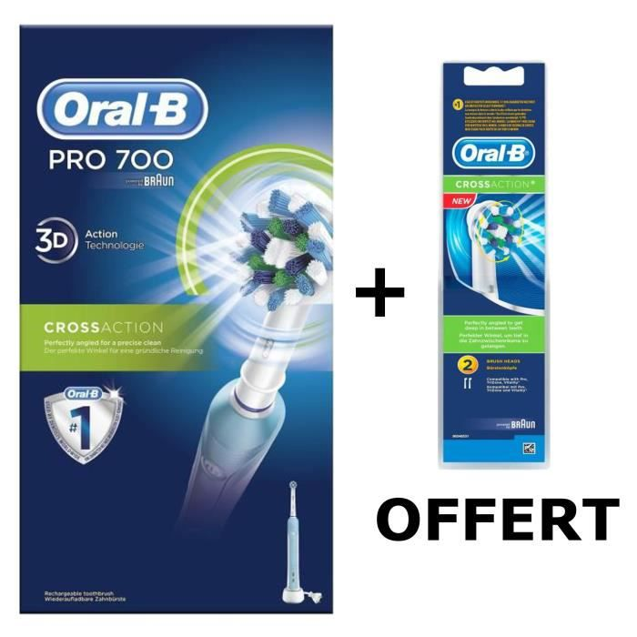 pack oral b brosse dents lectrique rechargeable pro 700 crossaction lot de 2 brossettes. Black Bedroom Furniture Sets. Home Design Ideas