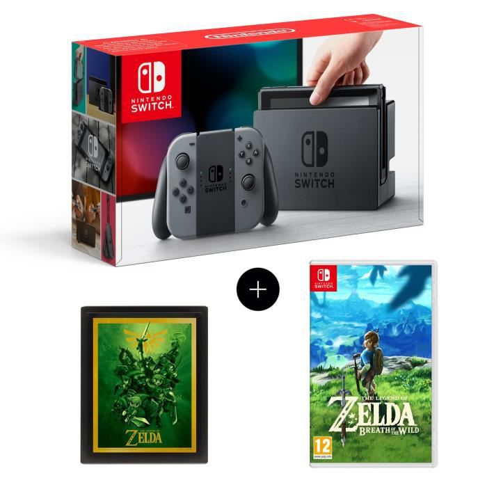 console nintendo switch paire de joy con gris jeu the. Black Bedroom Furniture Sets. Home Design Ideas