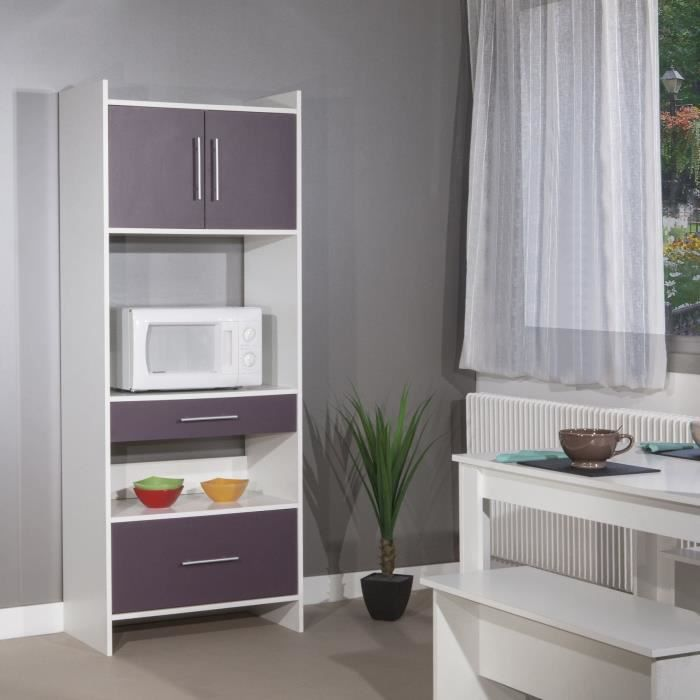 peps buffet de cuisine 70cm aubergine et blanc achat vente buffet de cuisine pep buffet. Black Bedroom Furniture Sets. Home Design Ideas