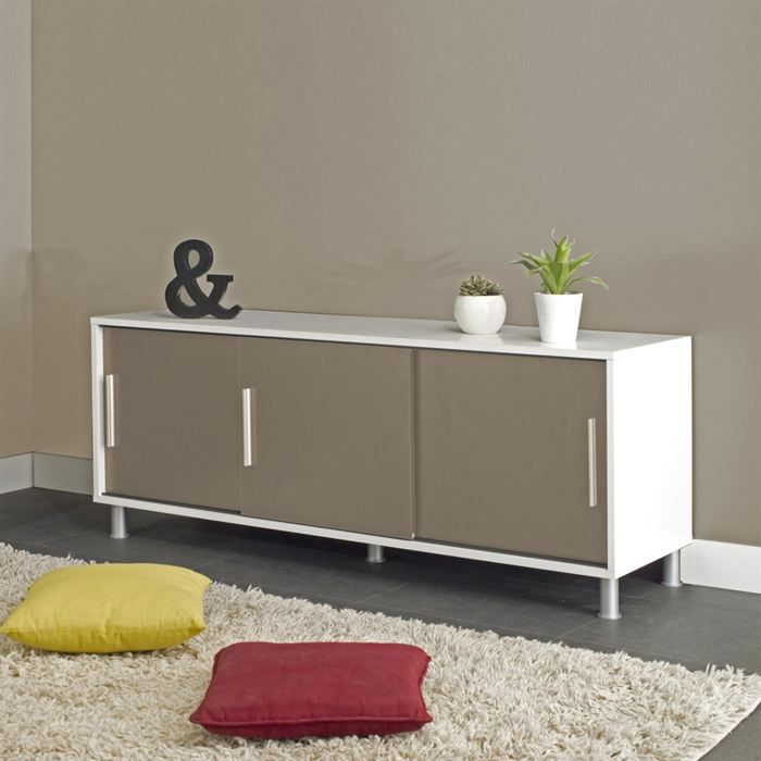 cherry buffet bas 149 cm 3 portes blanc et taupe achat vente buffet bahut cherry buffet. Black Bedroom Furniture Sets. Home Design Ideas
