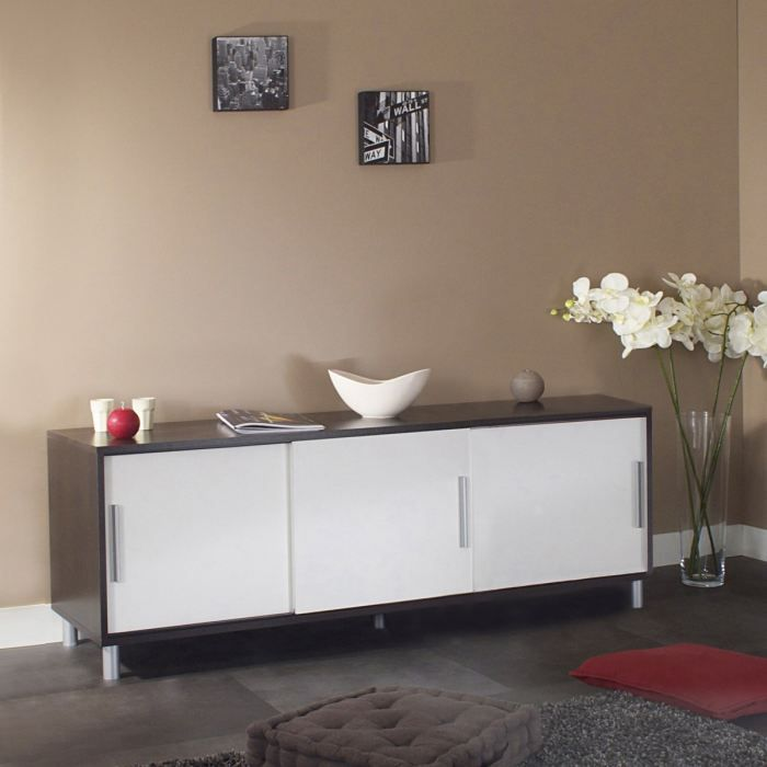 cherry buffet bas 149cm 3 portes choco blanc achat vente buffet bahut cherry buffet bas. Black Bedroom Furniture Sets. Home Design Ideas