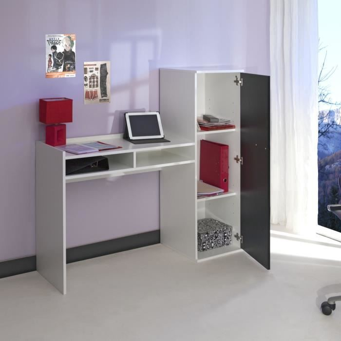 line bureau combin 131cm blanc noir achat vente. Black Bedroom Furniture Sets. Home Design Ideas