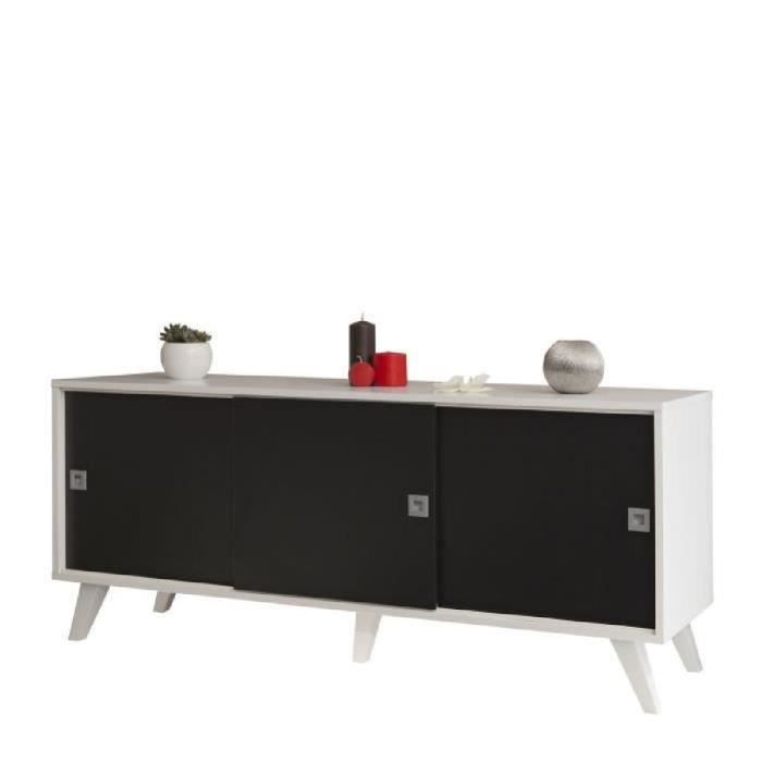oslo buffet 3 portes149cm noir et blanc achat vente buffet bahut oslo buffet 3p sur pieds. Black Bedroom Furniture Sets. Home Design Ideas