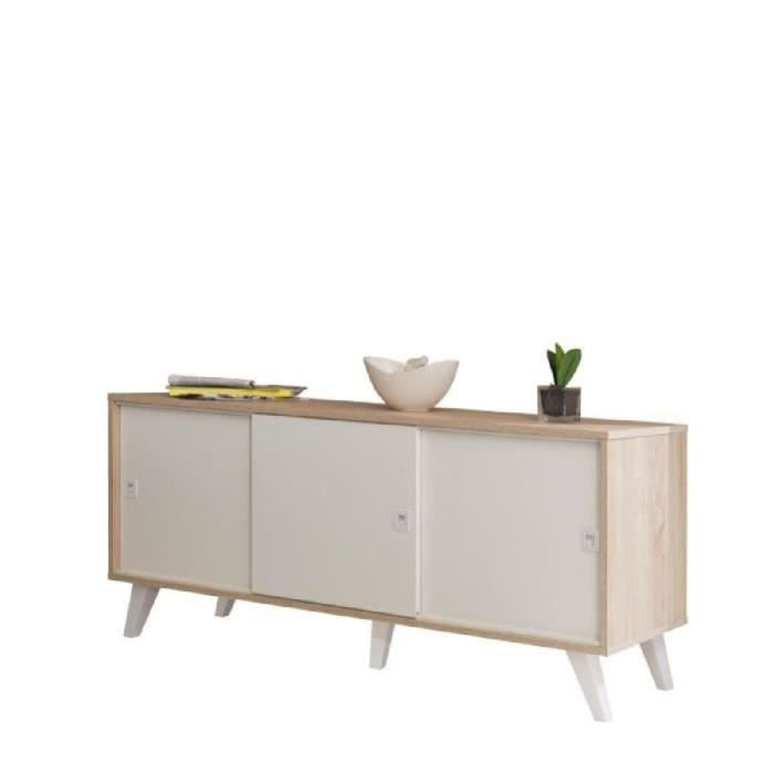oslo buffet 3 portes149cm coloris ch ne et blanc achat. Black Bedroom Furniture Sets. Home Design Ideas