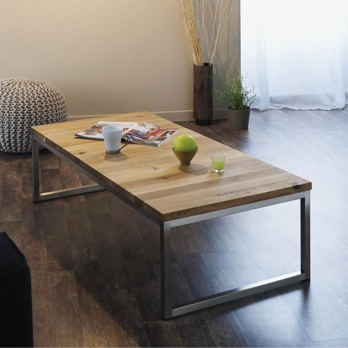 Hilton table basse style contemporain d cor ch ne cadre Table basse industrielle pas cher