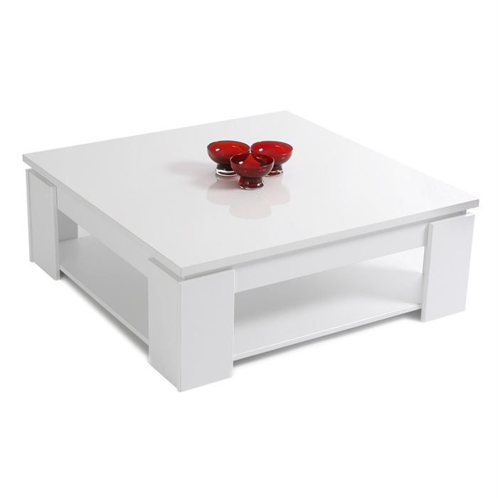 Shiny table basse carr e blanc brillant achat vente table basse shiny tab - Table carree pas cher ...