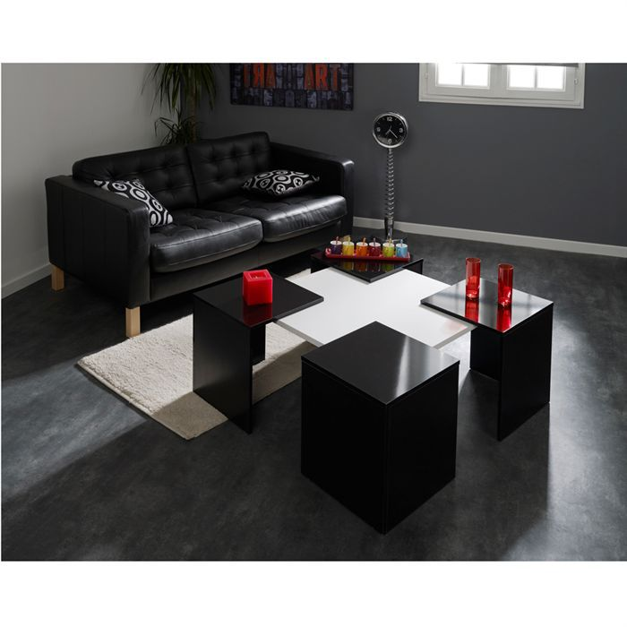 table basse cube extensible noir blanc achat vente table basse table basse cube noir blanc. Black Bedroom Furniture Sets. Home Design Ideas
