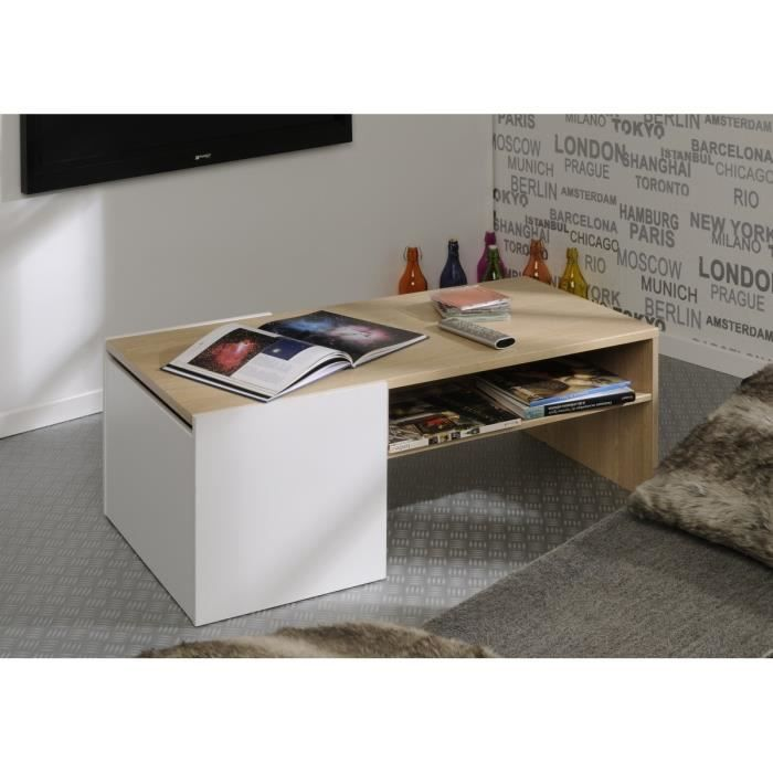 Zest table basse ch ne et blanc meg ve achat vente for Table basse blanc et chene