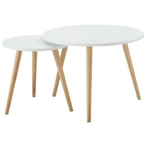 TABLE D'APPOINT LOLA Lot de 2 tables d'appoint scandinave laqué bl
