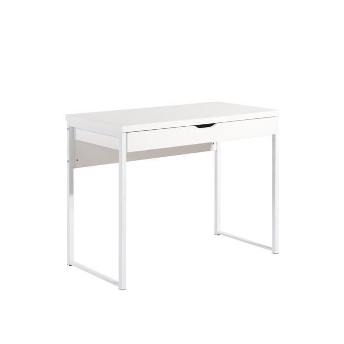 hexa bureau contemporain pieds en m tal laqu et plateau en mdf blanc l 100 cm achat. Black Bedroom Furniture Sets. Home Design Ideas