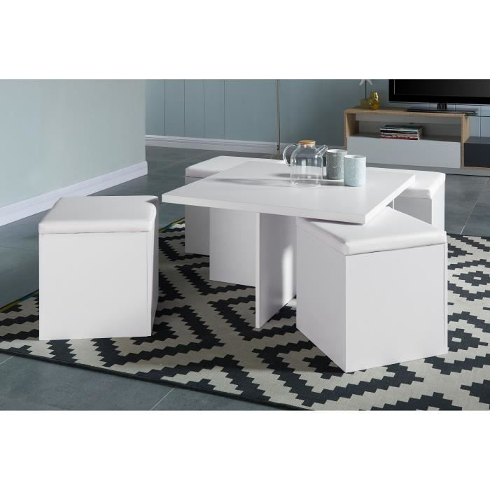 Lila table basse carr e 80x80cm blanc mat 4 poufs en for Table blanc mat