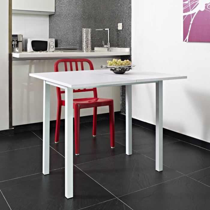 Kitchen table extensible 80x45 80cm blanche achat for Petite table cuisine