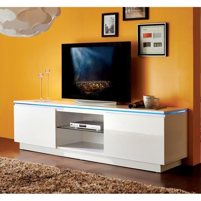 lumia meuble tv avec clairage led multicolore 175x40 cm blanc brillant achat vente meuble. Black Bedroom Furniture Sets. Home Design Ideas