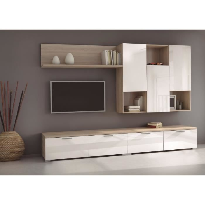 living blanc laque achat vente living blanc laque pas cher cdiscount. Black Bedroom Furniture Sets. Home Design Ideas
