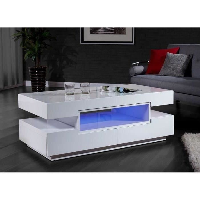 Prisca table basse avec clairage led 120x60cm blanc brillant achat vente - Table salon cdiscount ...