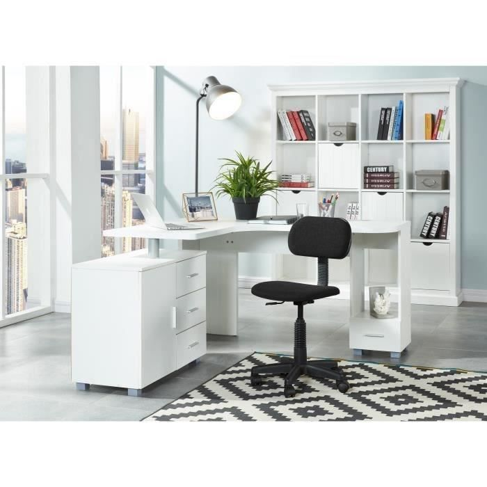 saga bureau d 39 angle contemporain blanc l 140 cm achat vente bureau saga bureau d 39 angle. Black Bedroom Furniture Sets. Home Design Ideas