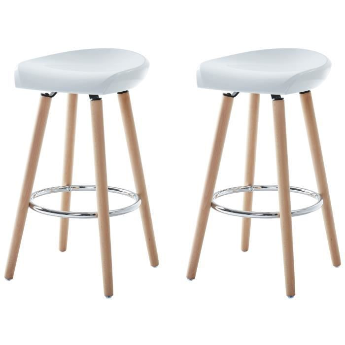 sanna lot de 2 tabourets de bar en boisblanc pieds en bois de h tre blanc scandinave l. Black Bedroom Furniture Sets. Home Design Ideas