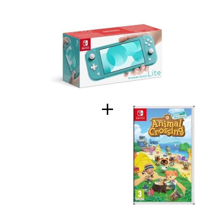 Photo de pack-nintendo-switch-lite-turquoise-jeu-animal-crossing