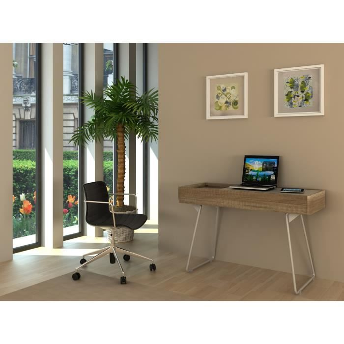 yama bureau pl taupe et ch ne avec pieds alu epoxy achat vente bureau yama bureau taupe et. Black Bedroom Furniture Sets. Home Design Ideas