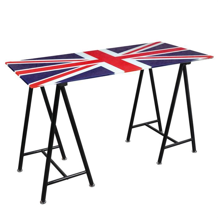 jak bureau plateau verre union jack achat vente bureau jak bureau plateau verre u j m tal. Black Bedroom Furniture Sets. Home Design Ideas