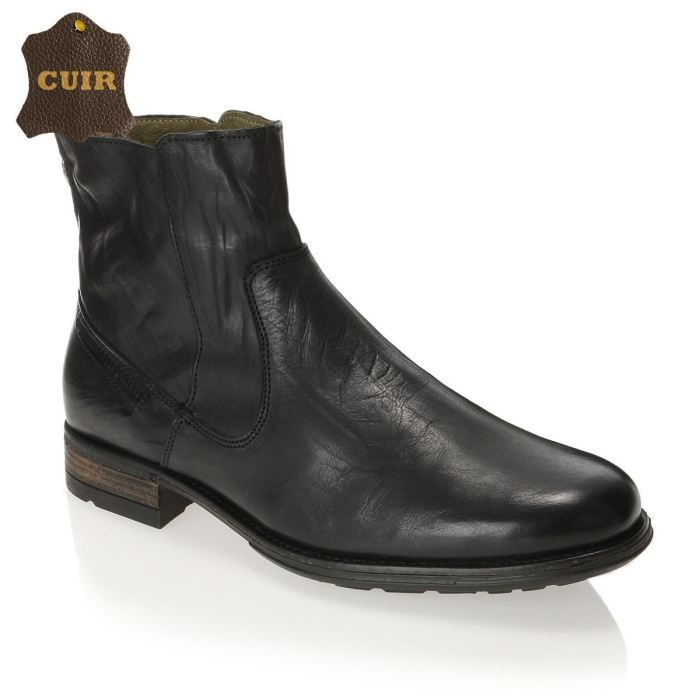Freeman t porter bottines cuir soren homme homme noir for Bottines freeman t porter