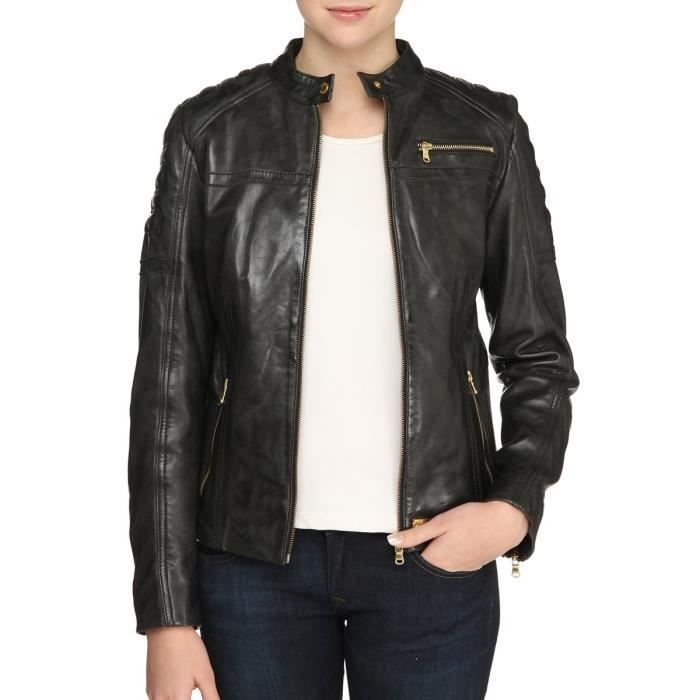 redskins veste blouson switch en cuir femme noir achat vente blouson cdiscount. Black Bedroom Furniture Sets. Home Design Ideas