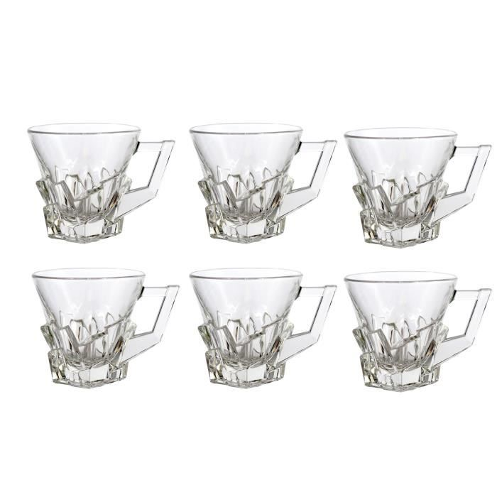 lot de 6 tasses caf crack achat vente verre eau. Black Bedroom Furniture Sets. Home Design Ideas