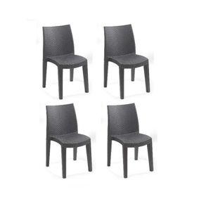 Lot de 4 Chaises de jardin Clio - En résine tressée - 55 x ...