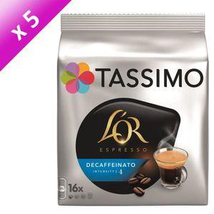 CAFÉ TASSIMO L'OR Café Espresso Decaffeinato - 5 paquet
