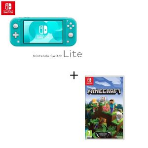 CONSOLE NINTENDO SWITCH Console Switch Lite Turquoise + Jeu Switch Minecra