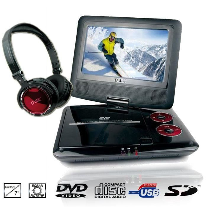 d jix pvs705 79hr lecteur dvd portable casque achat vente lecteur dvd portable d jix. Black Bedroom Furniture Sets. Home Design Ideas