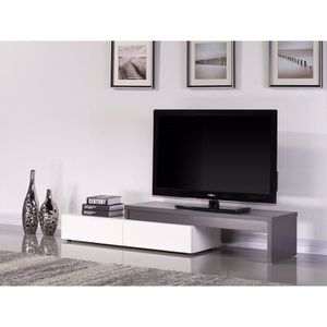 tamara meuble tv extensible 120 200cm gris blanc achat vente meuble tv tamara meuble tv. Black Bedroom Furniture Sets. Home Design Ideas