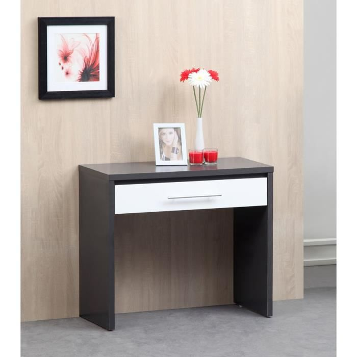 kuka console 90cm gris et blanc brillant achat vente. Black Bedroom Furniture Sets. Home Design Ideas