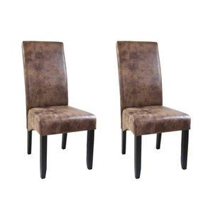 CHAISE CUBA Lot de 2 chaises de salle à manger - Tissu ma