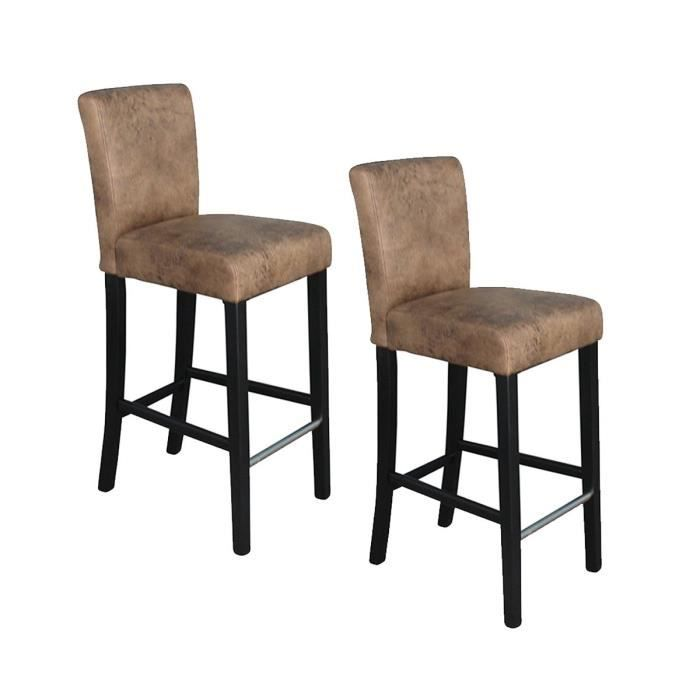 ELVIS Lot de 2 tabourets de bar - Tissu marron vintage - Contemporain - L  39 x P 49,5 cm ad2641476198