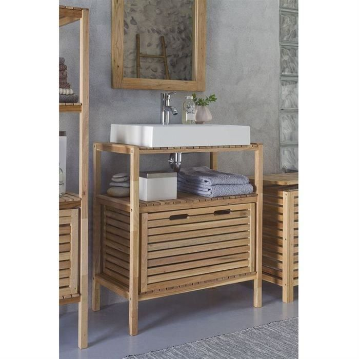 spa meuble sous vasque l65xh75 cm tiroir bois naturel achat vente meuble vasque plan. Black Bedroom Furniture Sets. Home Design Ideas