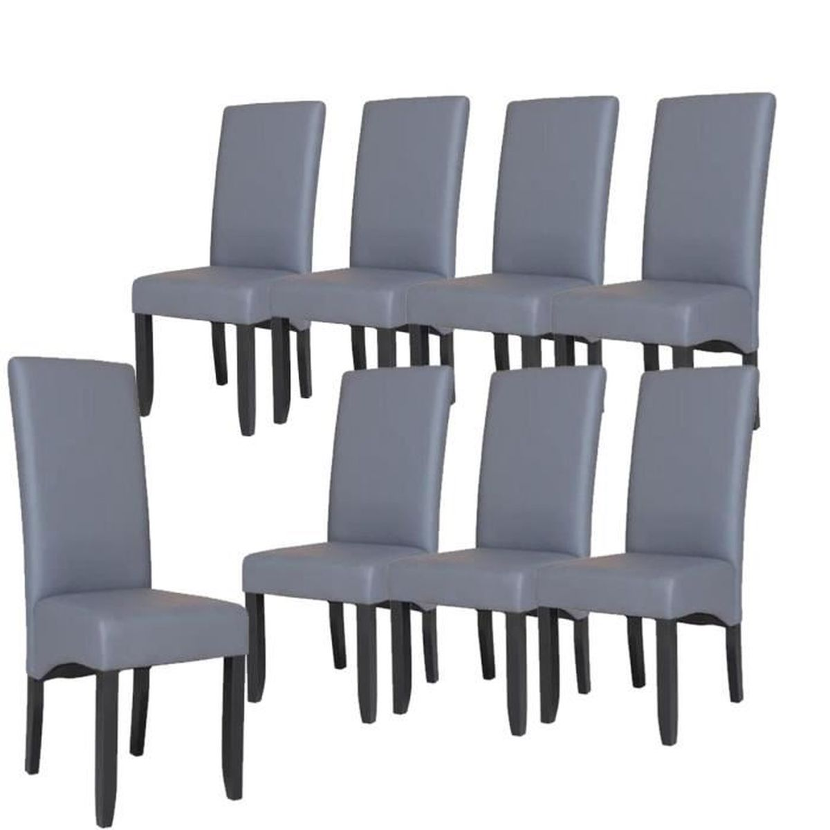 cuba lot de 8 chaises de salle manger en simili gris. Black Bedroom Furniture Sets. Home Design Ideas
