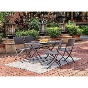 Ensemble table et chaise de jardin FINLANDEK - Ensemble repas de jardin en résine tre
