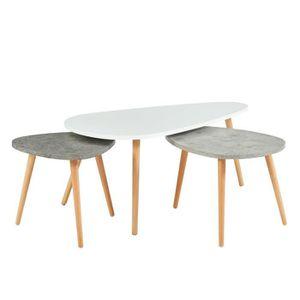 TABLE GIGOGNE PIPPA 3 tables gigognes scandinave - Blanc / gris